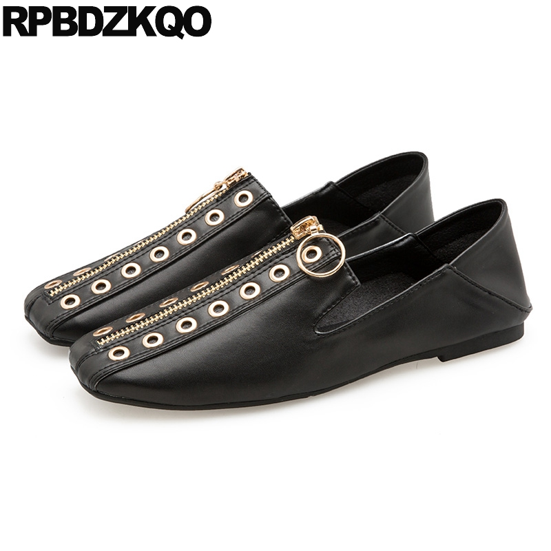 f4fe9569b60b9 Square Toe Designer Shoes Women Luxury 2018 Italian Loafers Mules Slip On  Metal Chinese White Black Nude Flats Slippers Zipper-in Women s Flats from  Shoes ...