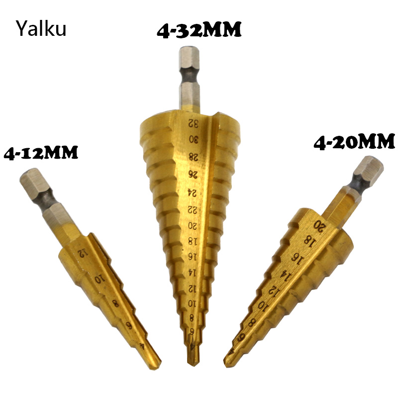 Yalku Metal Drill 4-12 / 20 / 32mm Step Drill Spiral Flute HSS Steel Cone Titanium Coated Mini Drill Bit Tool Set Hole Cutter