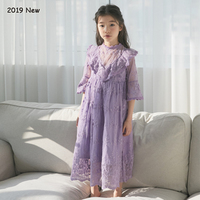 Purple Lace Girls Dresses for Party and Wedding Flare Sleeve Maxi Dress for 4 5 6 8 10 12 14 year New 2019 Korean Kids Dresses