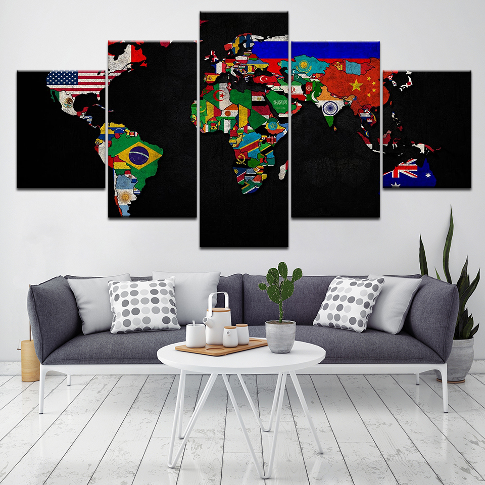 Home Decor Nation: Modular Home Decor Wall Art Painting World Map Picture