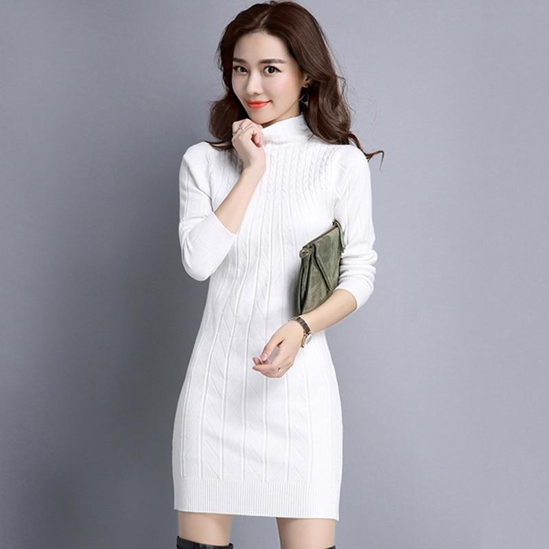 Crochet Turtleneck Dress Long Sleeve Tunic Winter Dress Sexy Bodycon Sweater Knitted Dresses 2018 Off White Vestidos Robe Femme turtleneck long sleeve dress