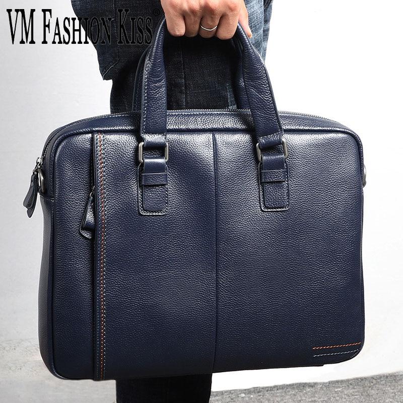 VM FASHION KISS Genuine Leather Briefcases Men Crossbody Handbag Business Men's Travel Shoulder Bags Laptop For Man Famous Brand