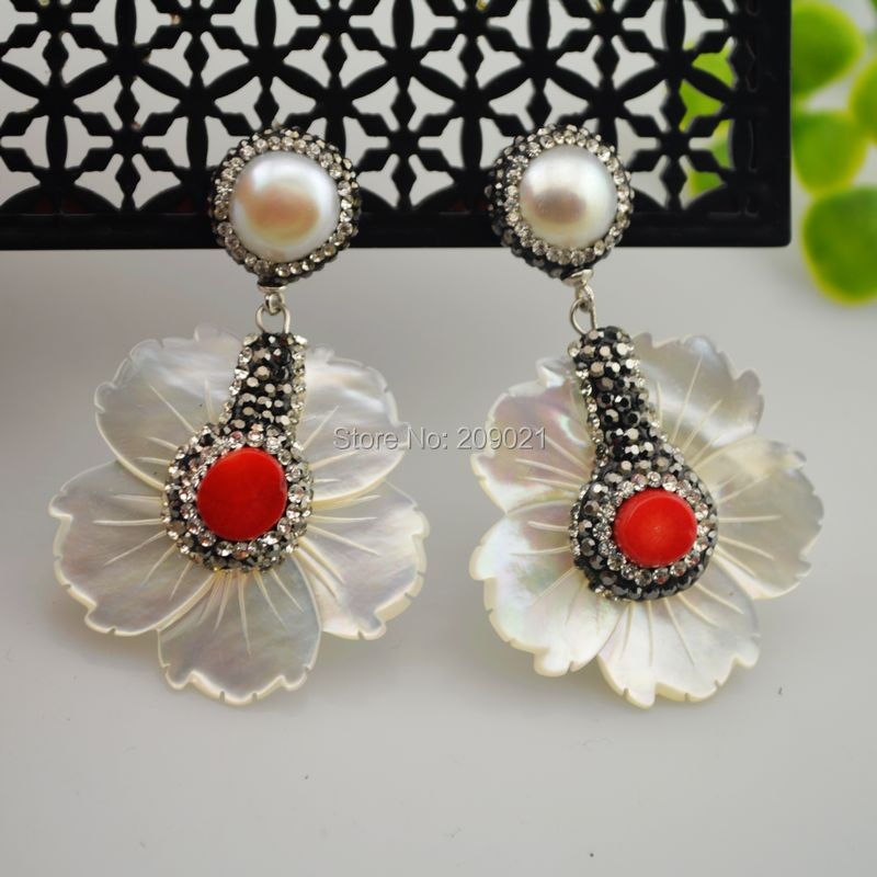 Jewelry Finding  4Pair 925 Silver White Color Shell Pearl With Coral Pave Rhinestone Crystal Dangle Earrings