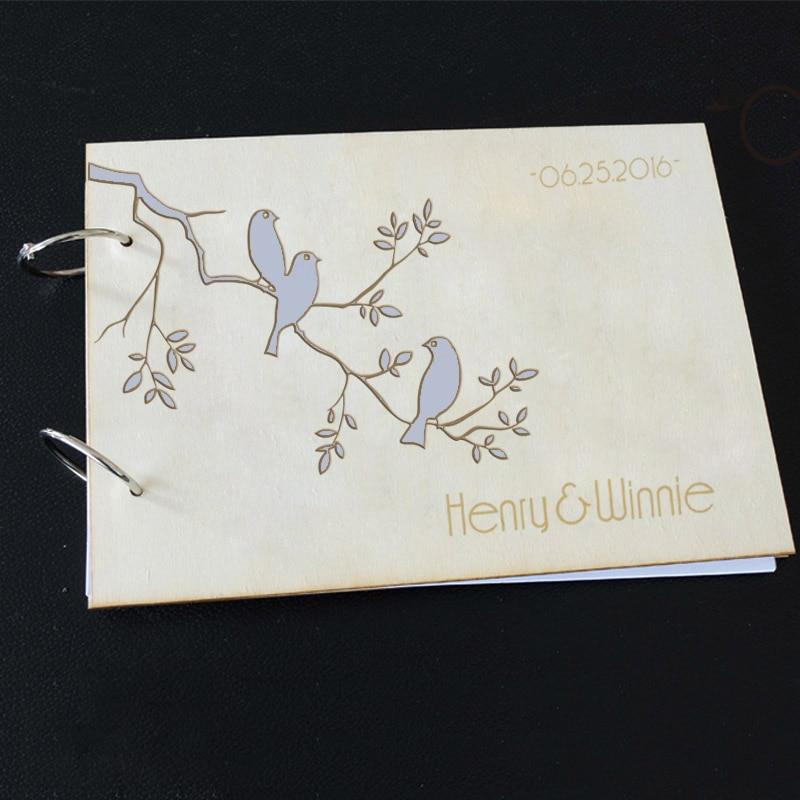 Wooden Wedding Album: Wooden Wedding Guest Book Eternity Lovebirds Wedding Tree