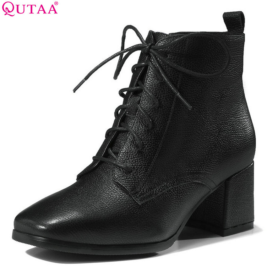 QUTAA 2019 Women Ankle Boots Square High Heel Cow Leather +Pu Winter Shoes Short Plush Women Motorcycle Boots Big Size 34-39 недорго, оригинальная цена