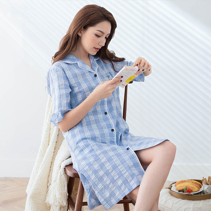 Qianxiu summer women grid   nightgowns  &  sleepshirts   thin woven cotton blue color sleepwear woman belt button night dress female