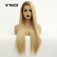 V'nice Brown Ombre Blonde Synthetic Lace Front Wig for Women Side Part Long Straight Lace Wigs Half Hand Tied