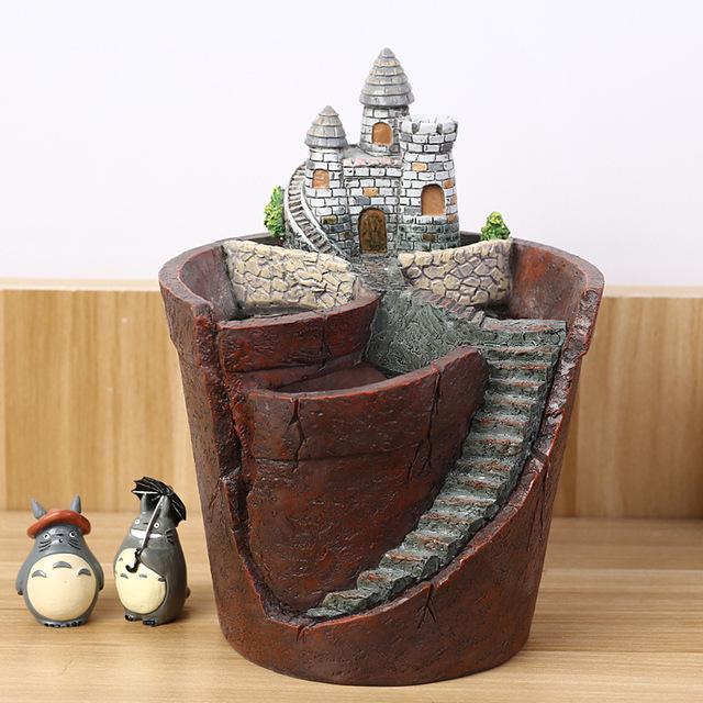Creative Castle House Shaped Resin Garden Pot New Novelty Bonsai Plant Flower Pot For Office Desk Decorations