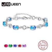 JQUEEN Created Stone Genuine S925 Silver Leaf Shape Charm Bracelets 925 Sterling Silver Bracelet for Women Wedding Party Jewelry
