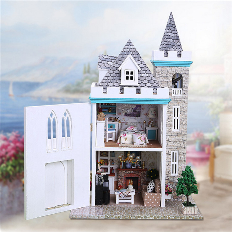 name diy wooden dollhouse with led light assembled doll house moonlight castle gift model sku554316 material wood fabric plastic etc