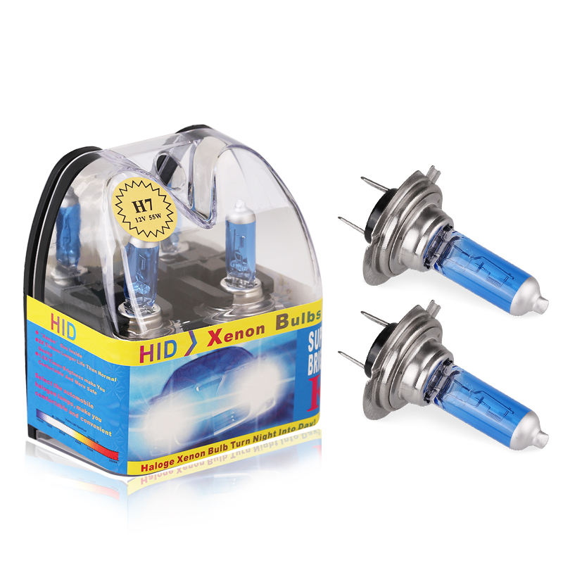 2PCS H7 halogen Headlight Lamp 12V 55W 5000K-6000K Super White Car halogen bulb fog light High Power Car Light Source цена