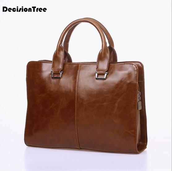 Fashion Oil Wax Leather Men Briefcase Handbag Vintage Designer Laptop Business Bag Famous Brand Male Messenger Shoulder Bag