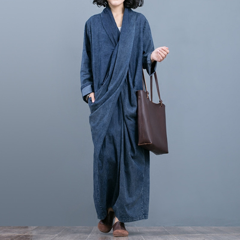 Free Shipping 2018 New Fashion Loose Straight Denim Dresses Women Long Maxi Plus Size One-piece Chinese Style Dresses With Belt free shipping new fashion plus size s l stretch velour dresses for women long maxi one piece dress spring autumn velvet hoodies