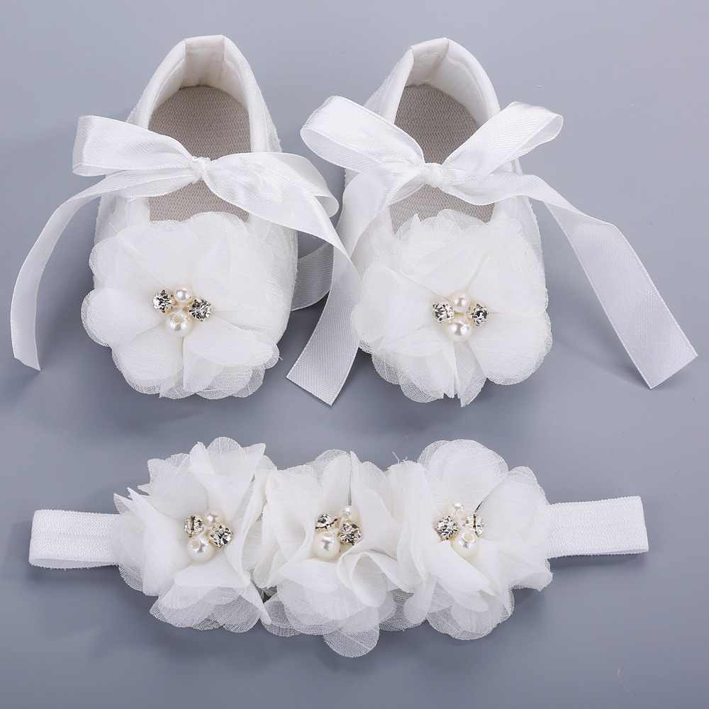 Party Christening Baptism Kids Girls Shoes For Baby Set Rhinestone Girl Baby Shoes First Walker,Baby Moccasins,Ballerina Booties