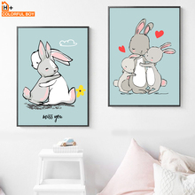 Baby Rabbit Nursery Wall Art Canvas Painting Cartoon Animal Nordic Posters And Prints Wall Pictures For Girl Boy Kids Room Decor baby girl room decor nordic cartoon pictures for kids room posters and prints nursery simple quote cat wall art canvas painting