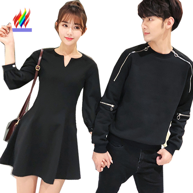 f2bdcc52d4 Matching Couple Clothes Lovers Cute Dresses New 2018 Spring Autumn  Valentine s Day Gift A Line V Neck Little Black Tunic Dress