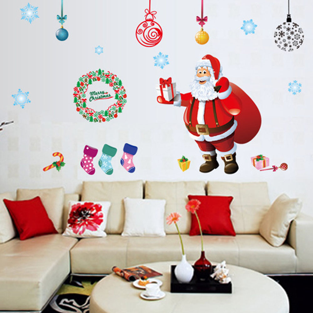 Large New Years Window Santa Claus Cristmas Tree Wall Stickers On The Wall Home Decor For Kids Rooms ...