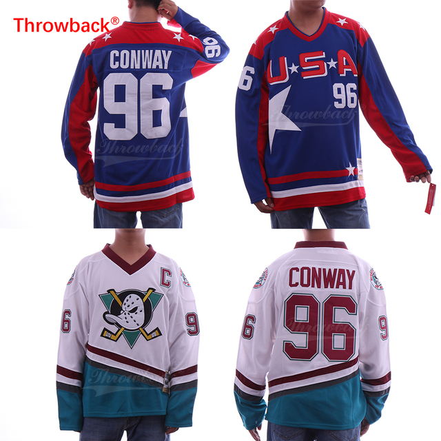 Throwback Men s  96 Charlie Conway Hockey Jersey Mighty Ducks Movie Jersey  USA Conway Blue White Stitched Jersey Cheap fd8a4bb7f