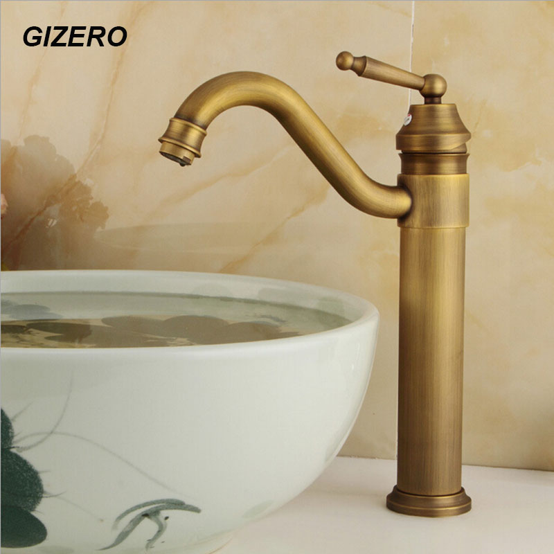 13 Tall Basin Mixer Bathroom hot and cold Faucet Swivel Spout Antique Bronze Deck Mounted Vessel Sink Vanity Water Taps ZR115