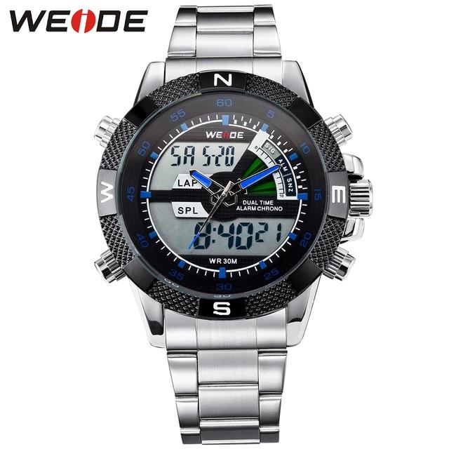 WEIDE Round Shape Watch Men Sport Water Resistant Mens Quartz Analog Digital Display Luxury Brand Multifunction Watches For Sale