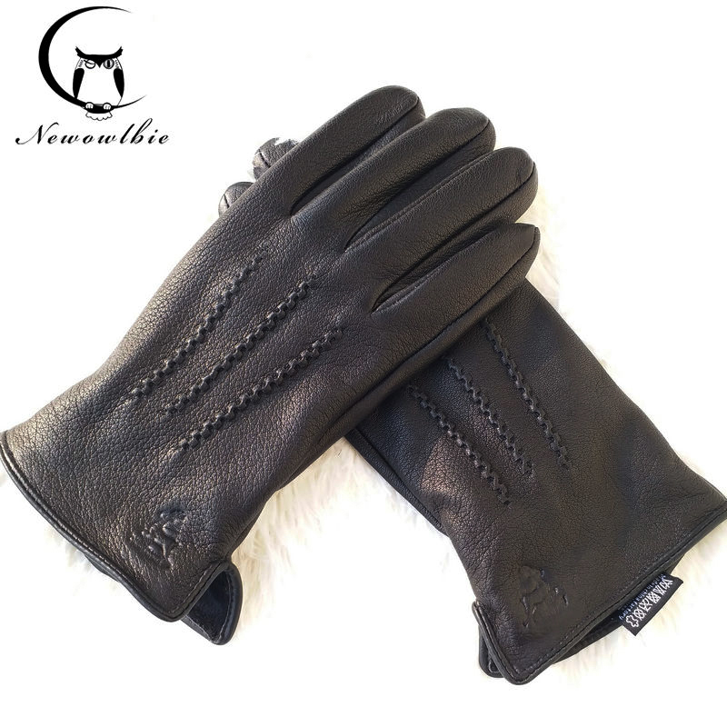 2019 New Man Deer Skin Leather Gloves Male Warm Soft Men's Glove Black Three Lines Design Men Mittens Sheep Hair Lining