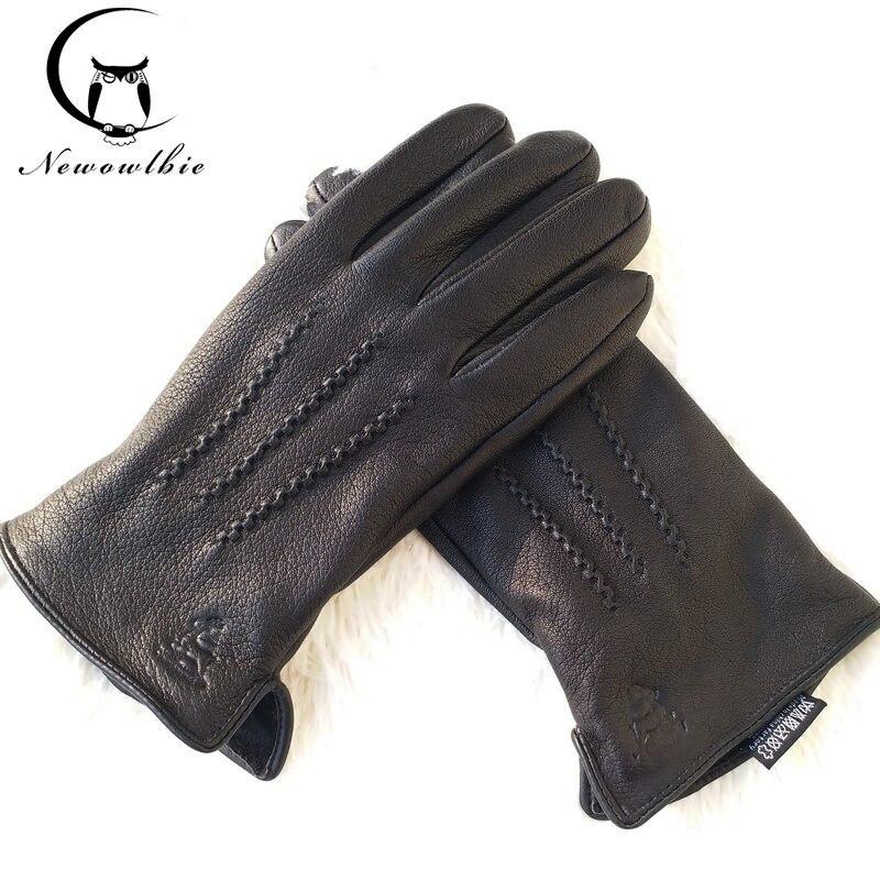 2020 New Man Deer Skin Leather Gloves Male Warm Soft Men's Glove Black Three Lines Design Men Mittens Sheep Hair Lining