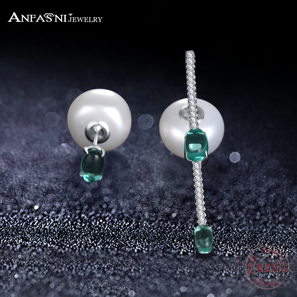 ANFASNI New Luxury 925 Sterling Silver Women Long Bridal Wedding Imitation Pearl Earring ...