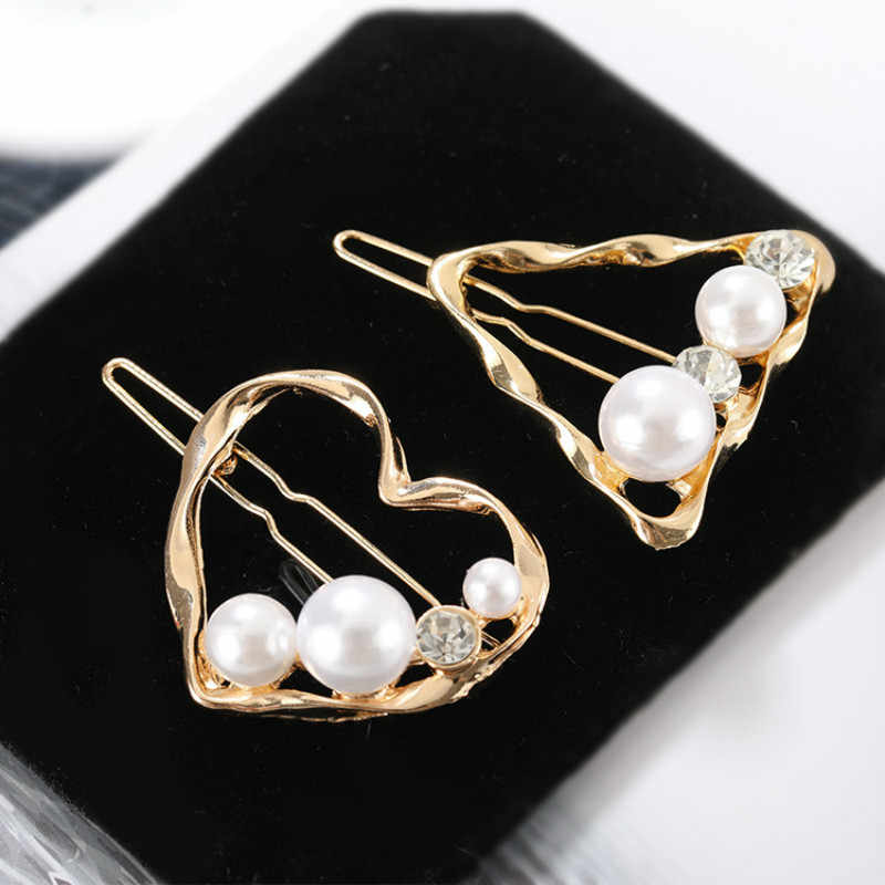 Korea Cute Hollow Heart Star Metal Hair Clips Women Hair Accessories Imitiation Pearl Crystal Metal Hairpins Hairgrip