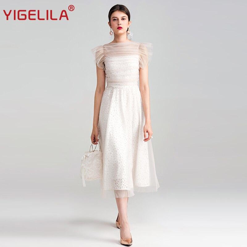 YIGELILA 2019 Neueste Sommer Frauen Mode Sexy Oansatz Ärmellose Reich Lange Spitze Mesh Kleid 62815-in Kleider aus Damenbekleidung bei AliExpress - 11.11_Doppel-11Tag der Singles 1