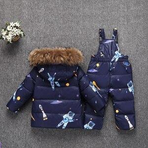 Image 2 - 겨울 따뜻한 어린이 의류 세트 진짜 모피 아기 소녀 오리 snowsuit 키즈 스키 복 세트 겨울 소년 다운 재킷 + 바지