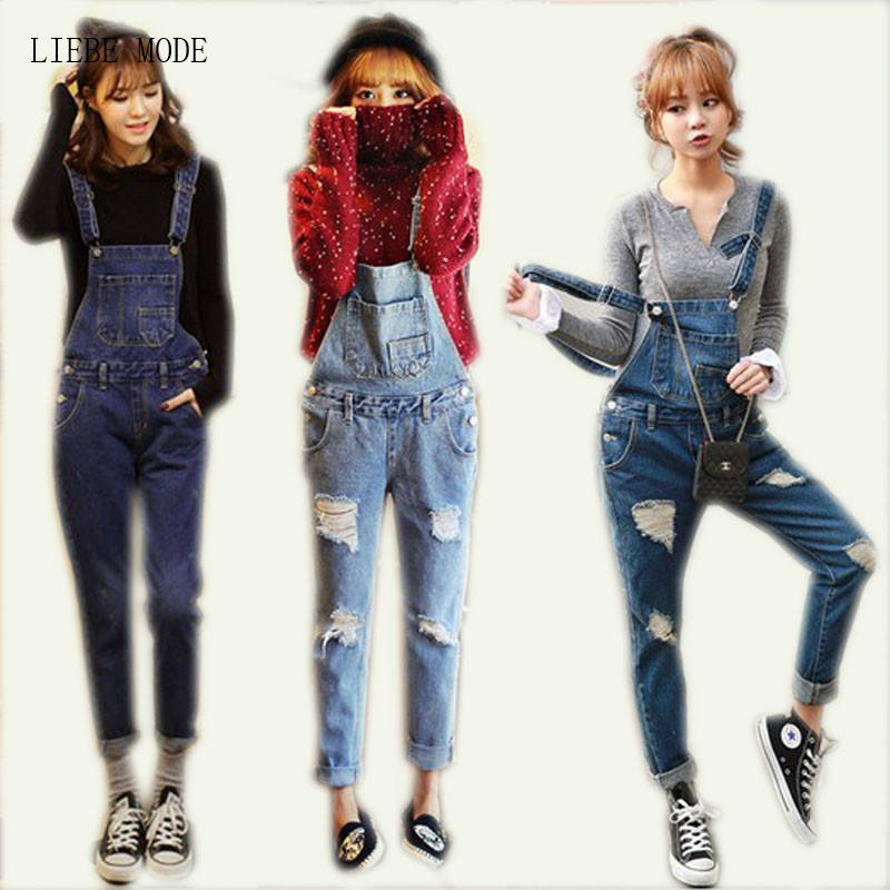 New 2017 Women Casual Bodysuit Jean Suspender Jumpsuit Cotton Female Bib Coveralls Women's Denim Catsuits Salopette Ripped Pants