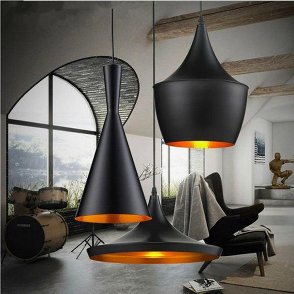 빈티지 산업 경적 모양 빛 매달려 단일 샹들리에 램프 3 유형 조명 레스토랑 바 침실 매달려 램프