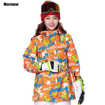 Marsnow kurtka zimowa-30 zagęścić kurtka narciarska Dropshipping wodoodporna wiatroszczelna odzież sportowa kurtka snowboardowa kobiet tanie i dobre opinie WOMEN Poliester COTTON none Drukuj Jazda na snowboardzie Pasuje prawda na wymiar weź swój normalny rozmiar Oddychające