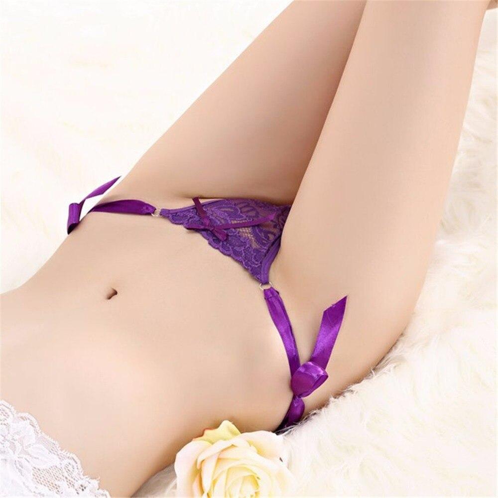 Free Size Sexy Girls Lace Thong G-string BriefsWomen Lace Panties Low Waist Ribbon Cotton Lingerie Female Underwear