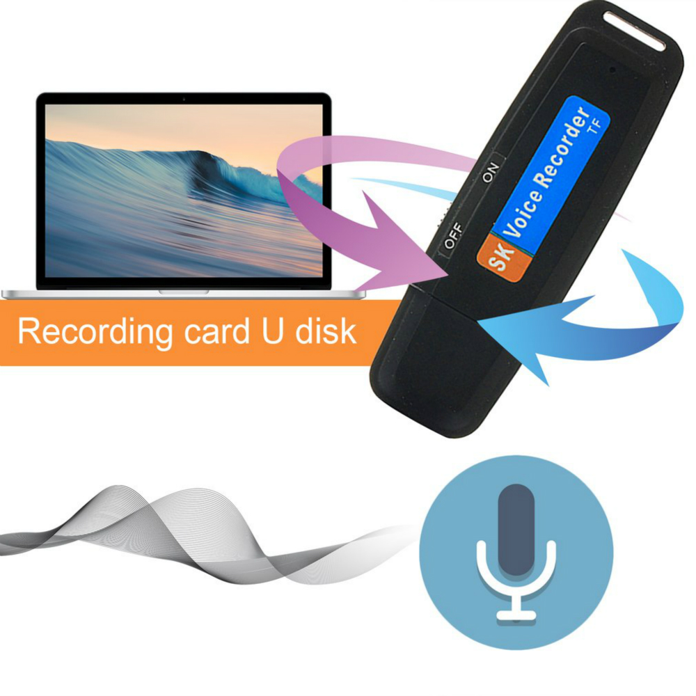 Blueskysea Digital Voice Recorder Portable Mini USB 2.0 TF Card Support No Memory Music Player Audio Recorder Card Reader