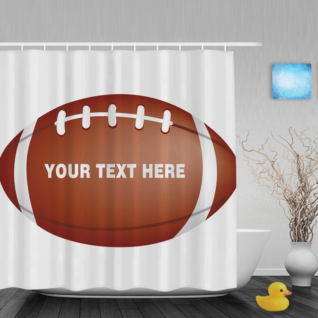 Personalize American Football Rugby Shower Curtain Custom Text Bathroom Curtains Polyester Fabric With Hooks