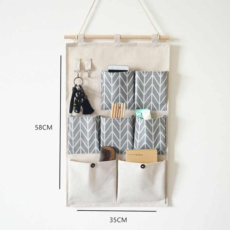 Junejour 7 bolsos parede pendurado sacos de armazenamento algodão linho porta organizador à prova dwaterproof água bolsa quarto escritório em casa recipiente
