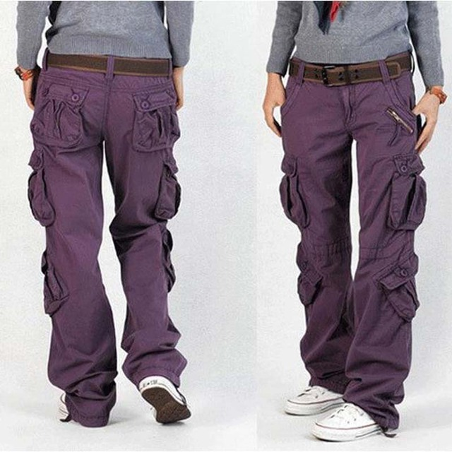 21ce66599bc Men and Women Cargo Pants 8 Pocket Cotton Hip Hop Trousers Loose Baggy Military  Army Tactical Pants Wide Leg Joggers Plus Size