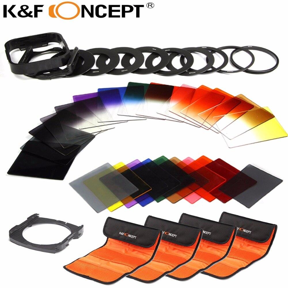 K F CONCEPT 40 in 1 Graduated ND Gray Color filter set Holder Kit for Nikon