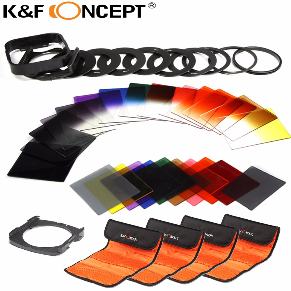 K & F CONCEPT 40 dalam 1 Graduated ND Grey Color filter set Kit Pemegang untuk Nikon D5300 D5200 D5100 D3300 D3200 D3100 DSLR Kamera