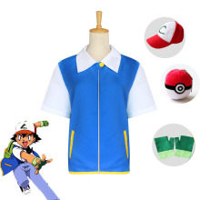 Eime Pokemon Go Pocket Monster Ash Ketchum Cosplay Costume Trainer Blue Sweater