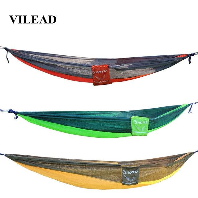 VILEAD 自動展開ハンモック蚊安定した超軽量ポータブルハイキング狩猟キャンプベビーベッド睡眠ベッド 290*140 センチメートル