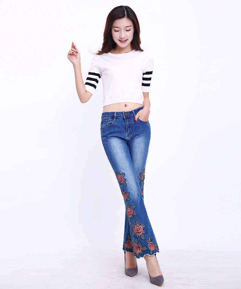 KSTUN FERZIGE Fashion Women Jeans with Embroidery Floral Design Flare Pants Bell Bottoms Boot Cut Slim Business Woman Sexy Ladies 36 16