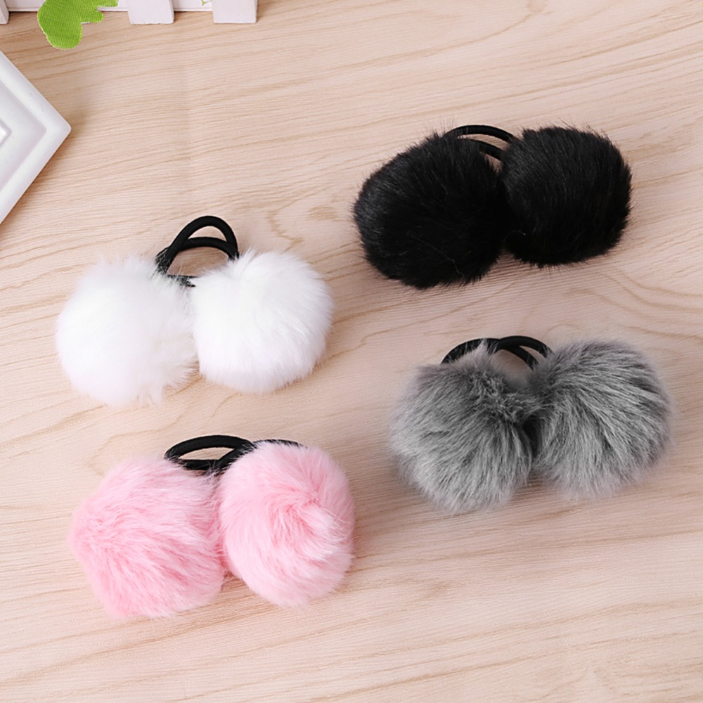 2 Pc Faux Bulu Kelinci Pompom Bola Rambut Scrunchie Ponytail Vicria High Quality Korean Bag Style Biru Tua Pemegang Elastis Band