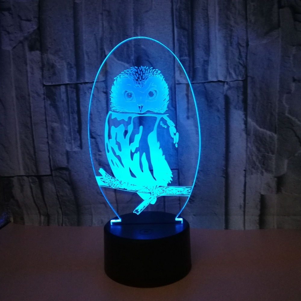 7 Color Owl 3D LED Night Light For Home Decor Amazing Visualization Optical Illusion Touch USB Table Lamp Children Gift image