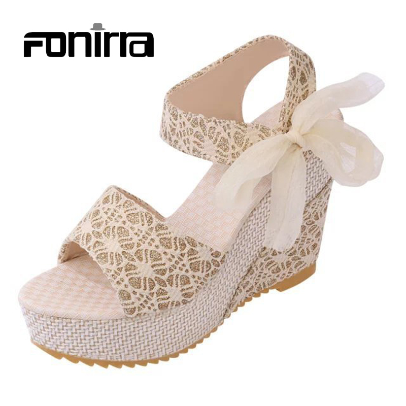 Ladies Sandals Summer Casual Sandals European Style Fashion Print Lace Ribbons Women Sandals Wedges Platform High