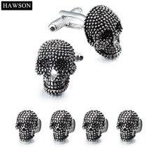 Trendy Skull Designer Cufflinks Studs Set Mens White Tuxedo Shirt Jewelry Accessories Party Best Gift Black Enamel Cuff links