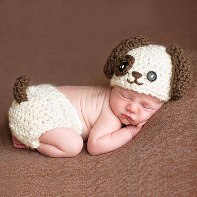 52cbecb7a US $4.86 25% OFF  Baby Knitted Photography Prop Newborn Hats Pants Puppy  Dog Costume Baby Infant Dog Crochet Knit Cap Costume Prop -in Clothing Sets  ...