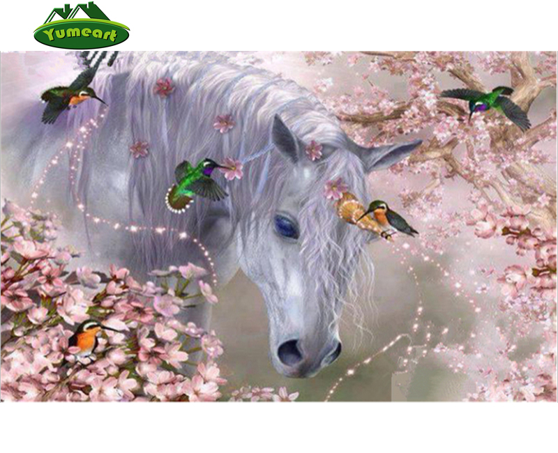 Diamond Embroidery Horses and Birds Romantic Flower Diamond Painting Cross Stitch Creative Art Crafts Mosaic Rhinestone Home