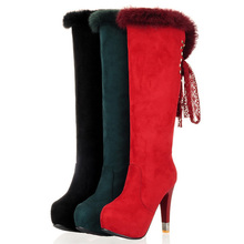 ENMAYER Winter boots new Sexy Women's Knee High boots Ribbons snow Boots Platforms Winter Round Toe Shoes Size34-39 Hot